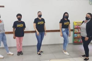 Integrantes da CIPA 2019/2020 -            Da esquerda para a direita: Marlei, Ovilma, Elisangela, Jessica e Joice